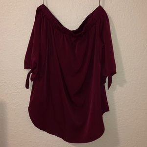 Deep red off the shoulder blouse
